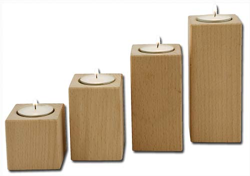 Holz-Kerzenständer einzel mittel